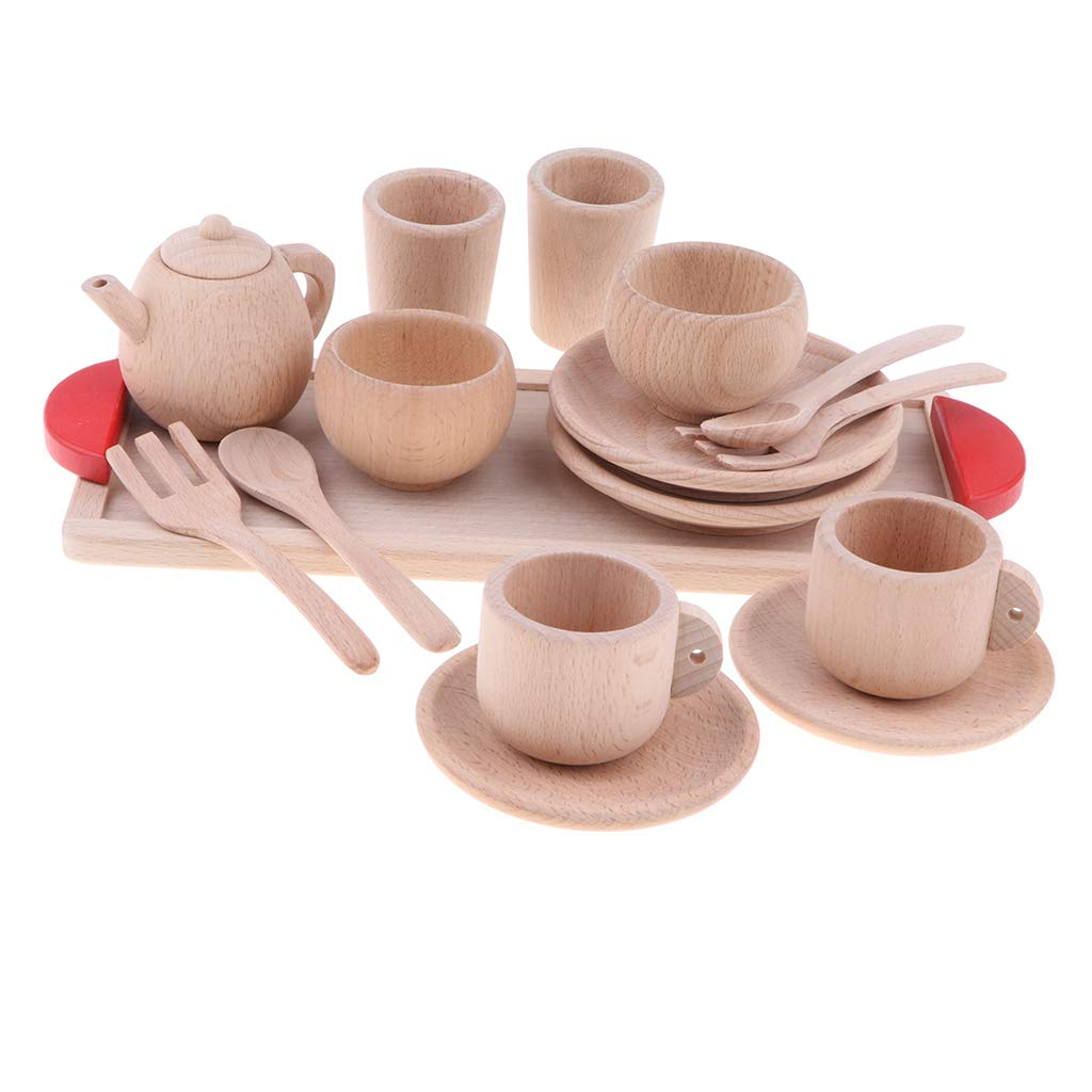 DYNWAVE Durable Wooden Kids Pretend Play Tea Set,Safe and BPA Free for Childrens Tea Party and Fun with Tea Cups, Kettles, Saucers, Spoons