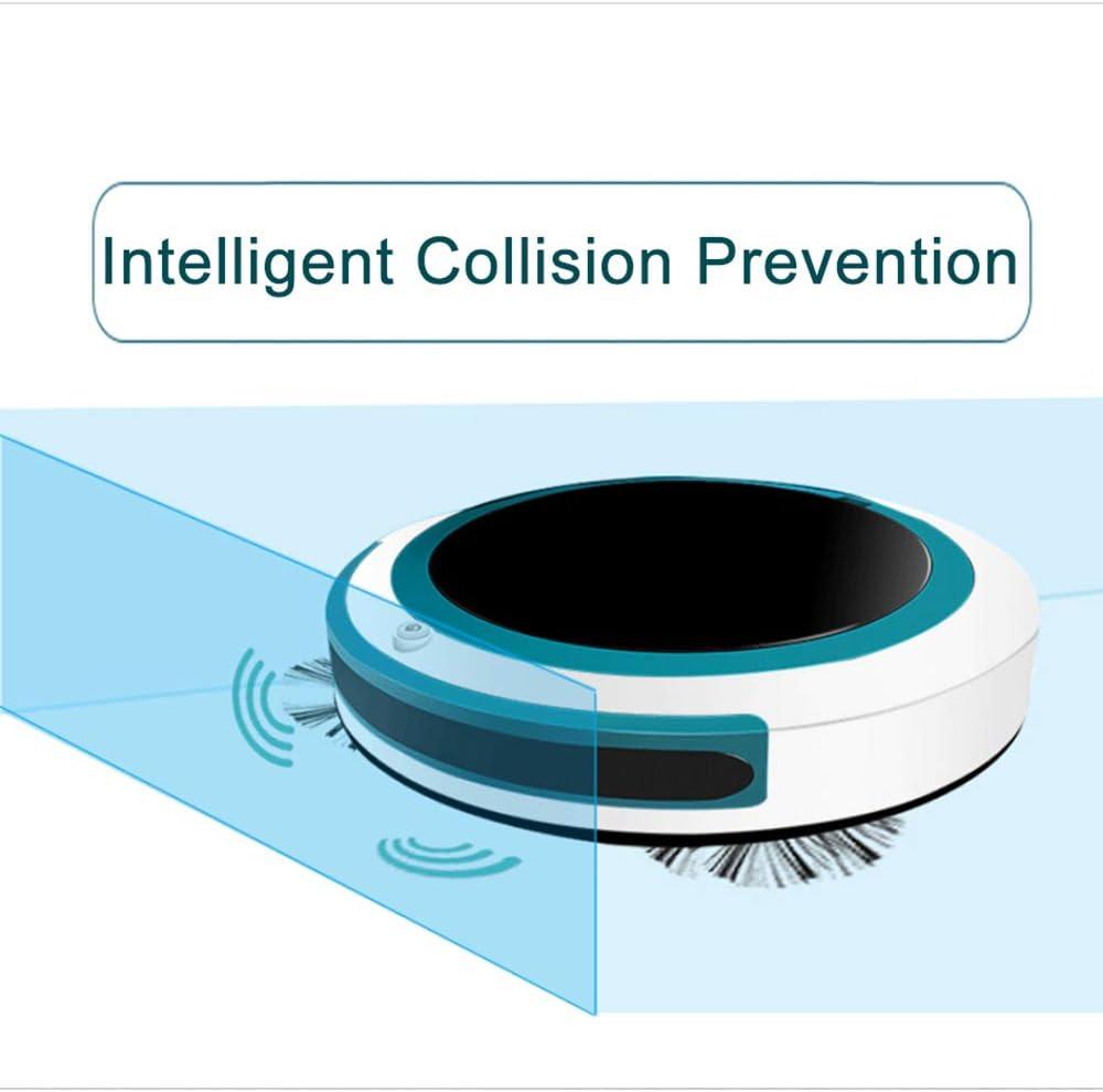 WFFH Aspirateur Robot, Robot aspirateur de Recharge Automatique, Robot de Nettoyage Anti-Chute et Collision capteur, Cleans Cheveux pour Animaux, sols durs et Tapis,B C