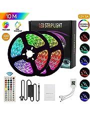 مصابيح شريط LED من مينستياي تعمل بمصابيح LED ذكية متغيرة الألوان بطول 16.4 متر / 5 متر شرائط إضاءة RGB 5050 مع وحدة تحكم BT للموسيقى تستخدم للتلفزيون وغرفة النوم والحفلات والديكور المنزلي
