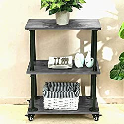 Rustic Gray Wood Multi-Purpose Rolling Cart ,Industrial Pipe Shelf 3 Layer Bookshelf with wheels