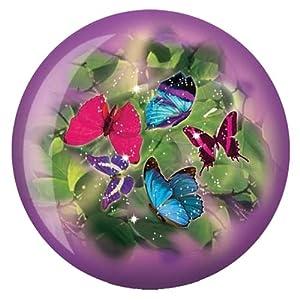 Brunswick Bowling Products Butterflies Glow Viz-A-Ball Bowling Ball 10Lbs, Purple/Green, 10 lbs