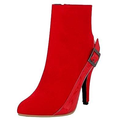 YE Damen Ankle Boots High Heels Stiefeletten Stiletto Boots