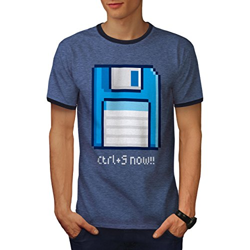 wellcoda Ctrl S Icon Mens Ringer T-Shirt, Save Now Floppy Graphic Print Tee Heather Blue/Navy L