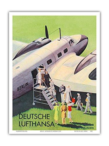 Berlin - German (Deutsche) Lufthansa Airlines - Vintage Airline Travel Poster by Siegward c.1937 - Master Art Print - 9in x 12in