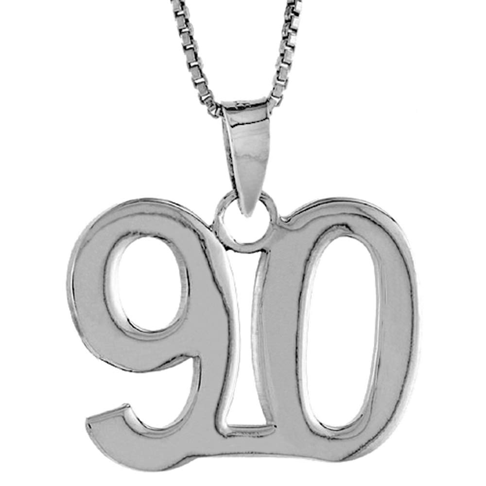 Sterling Silver Number 90 Necklace for Jersey Numbers /& Recovery High Polish 3//4 inch 2mm Curb Chain