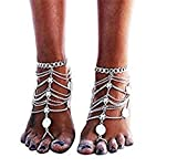 2pcs Anklets Boho Vintage Tassel Anklets Foot Jewelry Barefoot Sandals Beach Anklet Chain (C)
