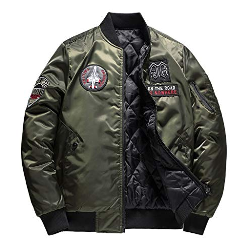 Men's Winter Warm Casual Tops Fashion Pure Color Jacket Zipper Outwear Coat Green