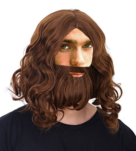 Halloween Costume Men Long Hair (Mens Cosplay Costume Biblical Jesus Wigs and Beard Set, Brown)