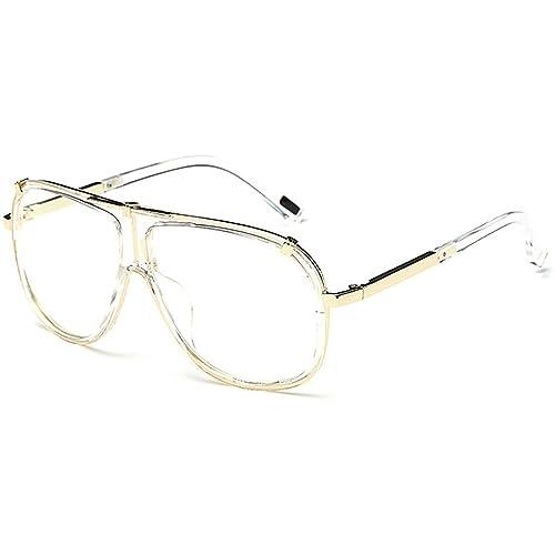 Retro Grande Gafas de sol hombre Aviador mujer Conductor pesca al aire libre Transparente lente