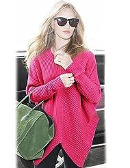 GS~LY Women's Asymmetrical Pullover Sweater , fuchsia-one-size , fuchsia-one-size