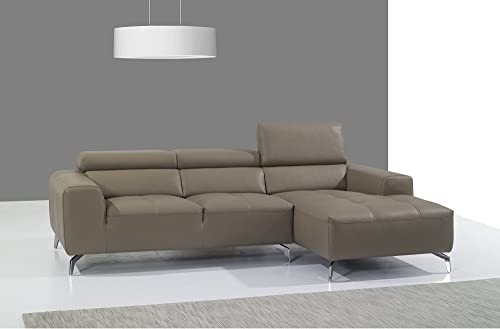 J and M Furniture Italian Leather Sectional Chaise in Burlywood, Right Hand Facing