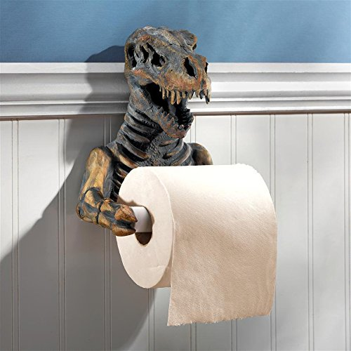 Design Toscano T. Rex Dinosaur Skeleton Bathroom Toilet Paper Holder, Multicolor