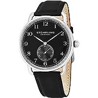 Stuhrling Original Classic Dress Wrist Watch for Men, Swiss Analog Stainless Steel Quartz Wristwatch with Genuine Leather Strap (Black)