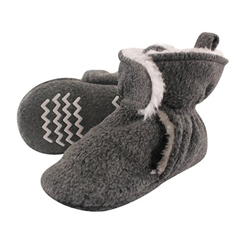 Hudson Baby Baby Cozy Sherpa Booties with Non Skid Bottom, Heather Charcoal, 6-12 Months