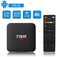 T95 S1 Android TV Box, Android 7.1 Amlogic S905W Quad Core 2GB/16GB with Digital Display HDMI HD 4K Ethernet WiFi 2.4GHz