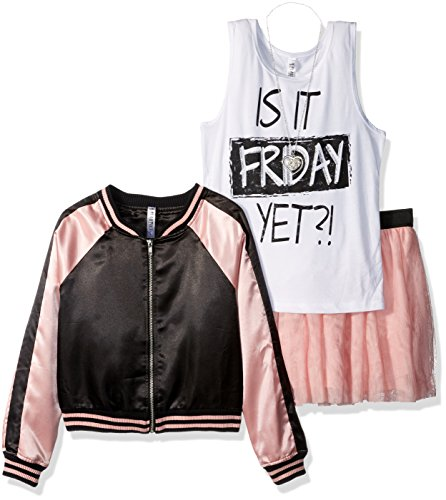 Beautees Big Girls' 3 Pc.Color Block Bomber Jacket, Screen Tee and Pleat Skirt, Blush, S (Colour Block Jacket)