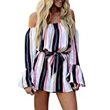 Womens Adorable Butterfly Sleeve Jumpsuit Off Shoulder Bandage Striped Playsuit (L, Blue)