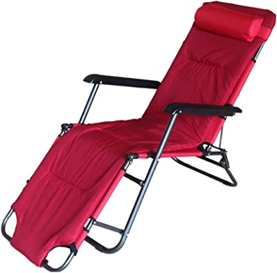 ZXL Folding Reclining Chairs Household Beach Sun Lounger Multifunction Portable Deck Chair (Color : Wine red, Size : With mat)