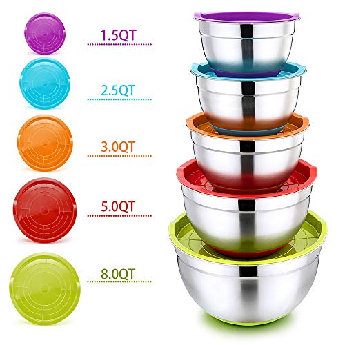 Mixing Bowls with Lids, P&P CHEF 10-Piece Stainless Steel Mixing Salad Bowls, Size 8/5/3/2.5/1.5 QT, Great for Mixing Storing Prepping, Clear ...