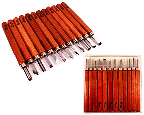 Premium Wood Carving Tools Kit - Durable High Carbon Stainless Steel Power Grip Carving Tool for Kids and Adults - Sculpting Knives for Carving Wood, Pumpkin & Soap - 12 Pieces]()