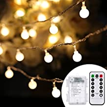 Remote Globe String Lights,RcStarry(TM) 16.5Ft 50 LED Fairy Lights,Battery Operated Ball Fairy String Light with Remote&Timer for outdoor,Home,Garden,Patio,Wedding,Party,Christmas,Warm White