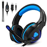 Fenvella Gaming Headset with Noise Reduction and Stereo Bass Surround 3.5mm wired Over Ear Headphones with Mic and LED Light for Ps4 Xbox one Nintendo Switch PC Ipad Mac/Mobile Devices(SL100-Blue)