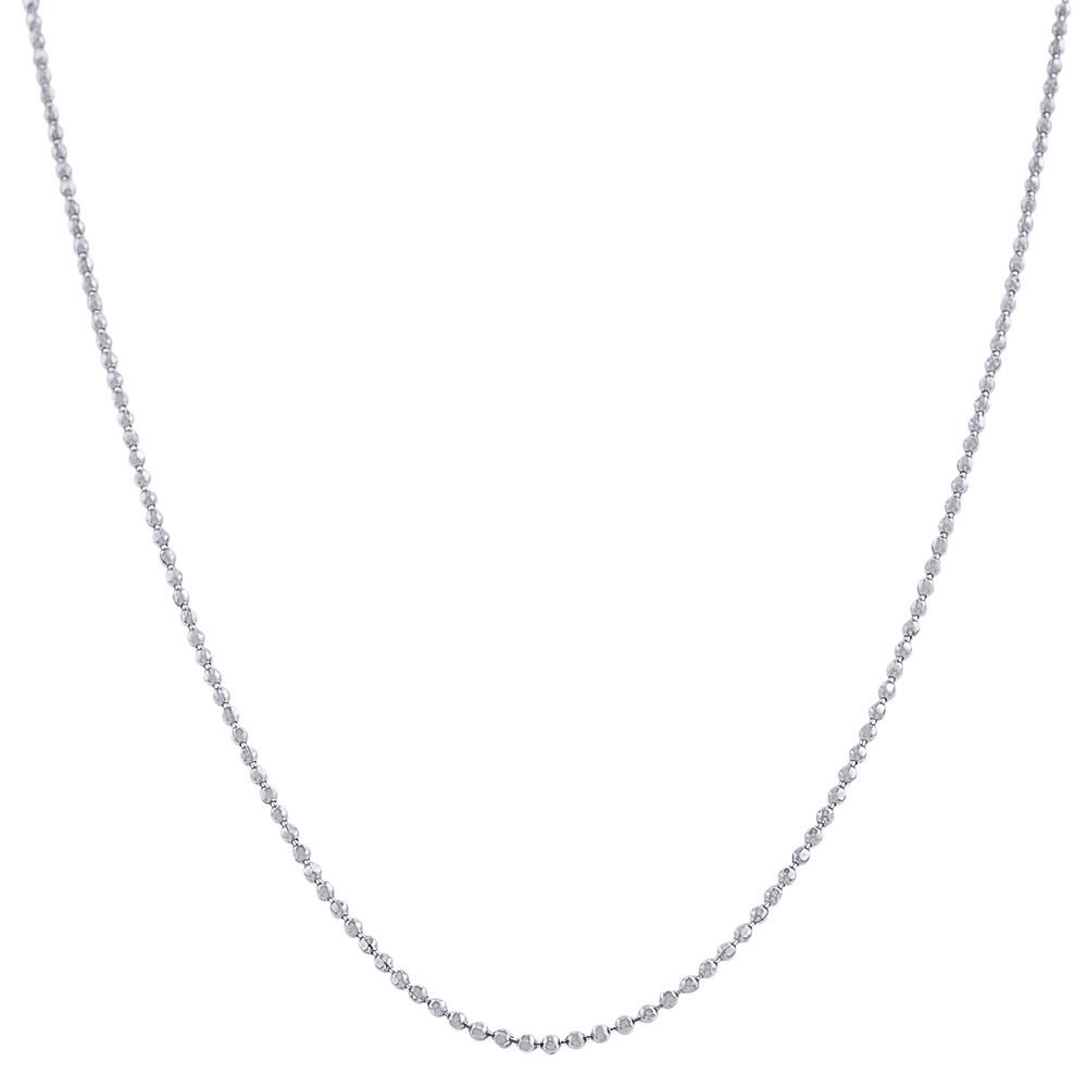 Pori Jewelers 925 Sterling Silver 1.5MM Diamond Cut Bead Chain Necklace - for Women -Made in Italy (24)