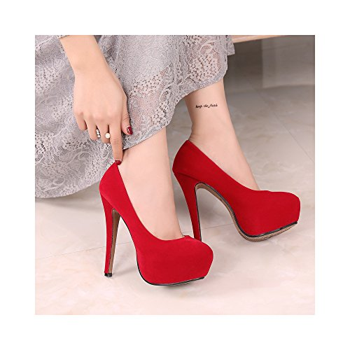Pumps Platform On Stiletto High Slip OCHENTA Toe Suede Heel Red Faux Round Women's wfxznqOC