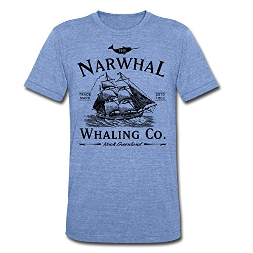 Boat Whaling (Spreadshirt The Narwhal Whaling Company Unisex Tri-Blend T-Shirt, L, Heather Blue)