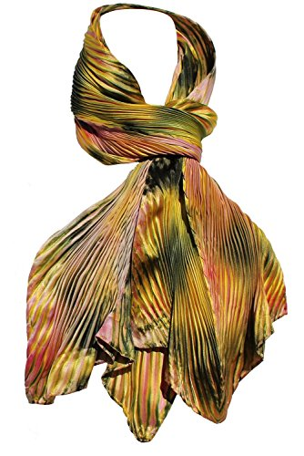 Arashi Shibori Hand Painted Silk Scarf in Gold, Shades of Greens and Pink
