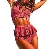 Quelife Womens Sexy cuello en V profundo con volantes Bikini dobladillo con volantes Push Up Backless traje de baño traje de baño ropa de playa