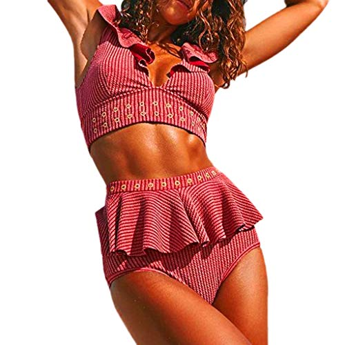 Price comparison product image WensLTD Womens Two Piece Ruffled Flounce Bikini Set Pushups Filled Bra High Waisted Swimwear Swimsuits (M,  Pink)