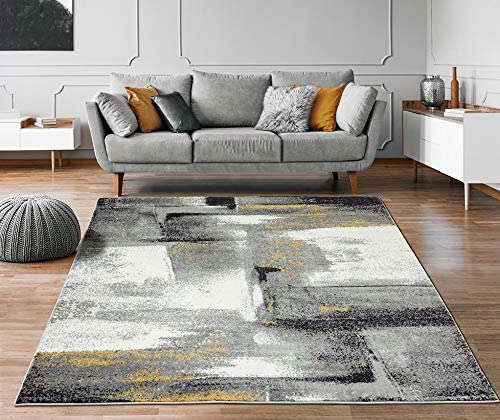 Luxe Weavers Lagos Collection 7558 Grey 4×5 Abstract Area Rug