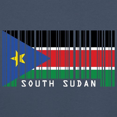 South Sudan / Südsudan Barcode Flagge - Herren T-Shirt - Navy - XS