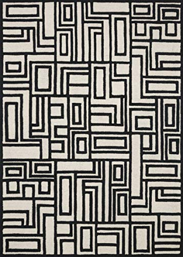 Now House by Jonathan Adler Blocks Collection Area Rug, 9' x 12', Ivory and Black