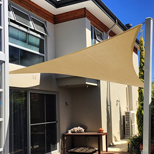 Shade&Beyond 12' x 12' x 12' Sand Color Triangle Sun Shade Sail for Patio Yard Deck UV Block for Outdoor Facility and Activities