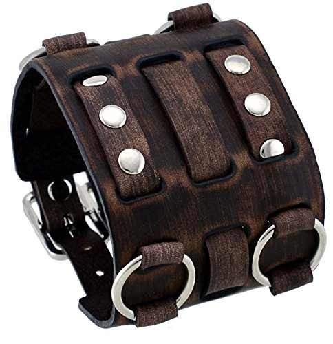 nemesis-wb-bv-wide-tarnished-brown-leather-tri-clasp-cuff-wrist-watch-band