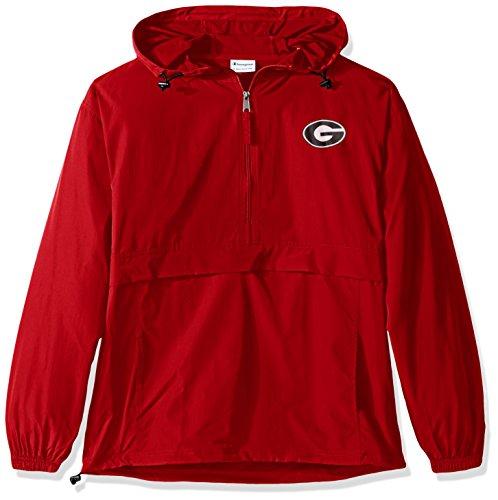 Champion NCAA Men's Half Zip Front Pocket Packable Jacket Georgia Bulldogs XX-Large