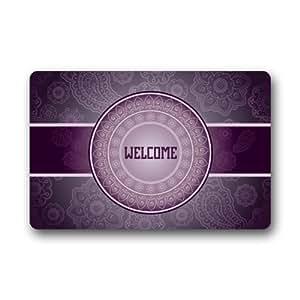 """Shirley's Door Mats Classic Elegant Purple Pattern Welcome Home Doormats Top Fabric&Rubber Personalized Durable (Machine-Washable) Bathroom Floor Mat Rug Carpets Indoor/Outdoor (23.6""""X15.7"""")"""