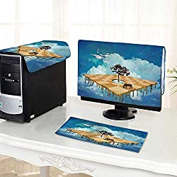 Auraisehome Desktop Computer Cover 3 Pieces Decor Surreal Landscape Over Clouds with Tree Horse and Flying Clocks Birds Illusion Scratch Resistance /24