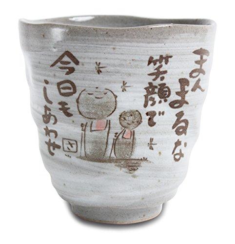 Mino ware Japanese Pottery Yunomi Chawan Tea Cup Jizo Stone Statues Gray Sanaegama made in Japan (Japan Import) KSY006