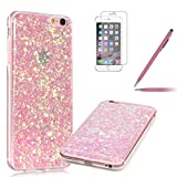 iPhone 6/6S Case,Protective iPhone 6S Cover,Felfy [Thin Fit] iPhone 6 6S Fashion Luxury Pink Bling Bling Glitter Shiny Case Bumper Cover,Elegant Ultra Slim Flexible TPU Soft Silicone Gel Desgin Transparent Crystal Clear Protective Back Cover for Apple iPhone 6/6S 4.7 inch with Screen Protector + Pink Stylus