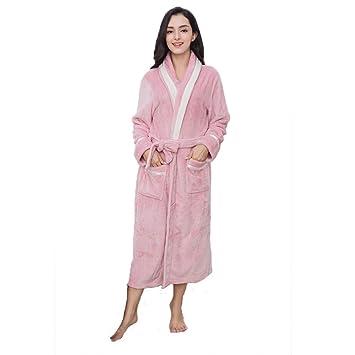 Pijamas Batas De Baño para Mujer Bata Bata Toallas De Baño Lujoso Extralargo Suave Franela Coral Fleece Ropa De Hogar Rebeca Bolsillos Casuales Y Cinturones ...