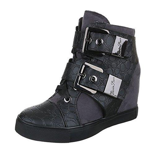 Ital-Design - Zapatillas de Material Sintético para mujer negro y gris