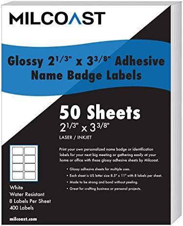 Milcoast Selbstklebende Namensschild-Aufkleber für Laserdrucker/Tintenstrahldrucker, 50 Blatt