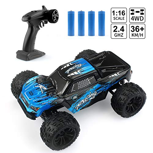 (1:16 Scale Rc Cars, 2.4G 4WD Remote Control Off Road Truck, 36km/h High-Speed Off-Road Bigfoot Truck RC Car G174, RC Electronic Monster Hobby Truck Buggy for Kids Adults (Blue))