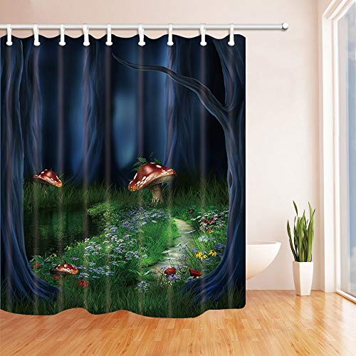 Nyngei Fairy Tale Forest Shower Curtains Red Mushroom with Flowers in Grass for Kids Polyester Fabric Bath 70.8X70.8in ()