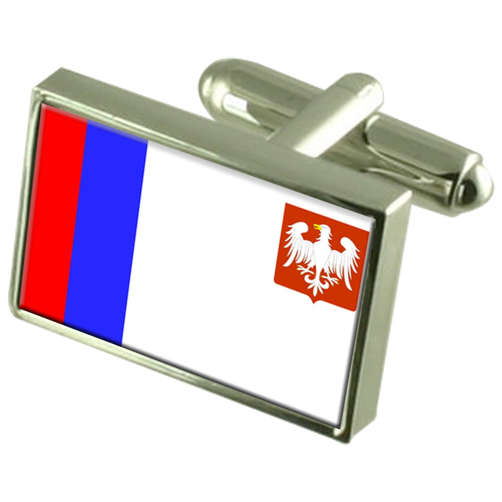 Piotrkow City Poland Flag Cufflinks Engraved Box