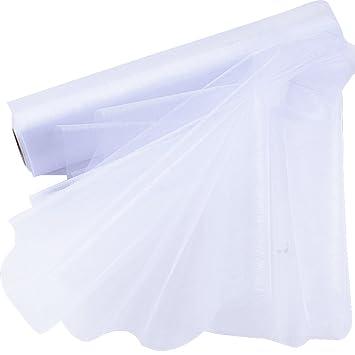 26m*29cm Rollo Organza Tul Cinta Blanca para Decoración Boda Fiesta Cumpleaños Lazos Silla Falda