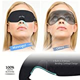 Cotton Sleep Eye Mask - Light Blocking Sleep Mask, Comfortable & Lightweight Sleeping Mask with Adjustable Strap, No Pressure on Eyes and Great for Traveling/Nap/Night Sleeping (Black)